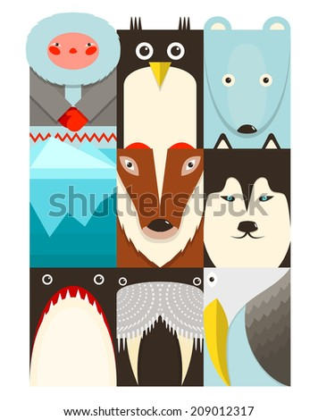 Flat Arctic and North Pole Symbols Set. North pole animals collection.  Raster variant. - stock photo