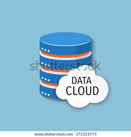 Flat background - Database - server - information transfer - Global storage - stock photo