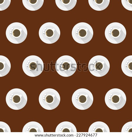 Flat background for coffee cup. Seamless pattern with full white coffee cup flat signs with long shadow effect on brown background. - stock photo