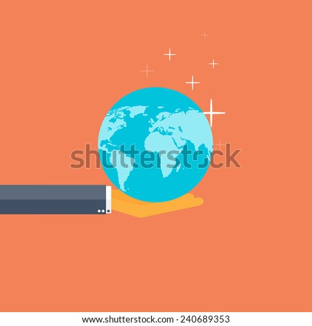 Flat background with hand and earth globe. Global environment protection. Global commerce and communication. - stock photo