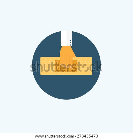 Flat background with hand and medical plaster. First aid. - stock photo