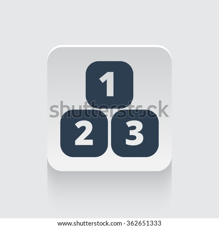 Flat black 123 Blocks icon on rounded square web button - stock photo