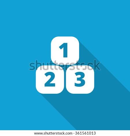 Flat 123 Blocks icon with long shadow on blue backround - stock photo