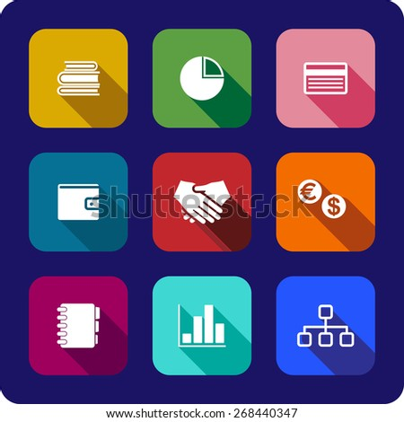 Flat business icons or buttons each on a different colored background depicting the handshake, currency, purse, chart, graph credit card, notebook and books - stock photo