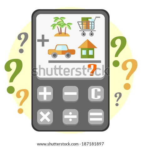 Flat calculator displaying calculating of main household items - stock photo