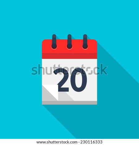 Flat calendar icon. Date and time background. Number 20 - stock photo