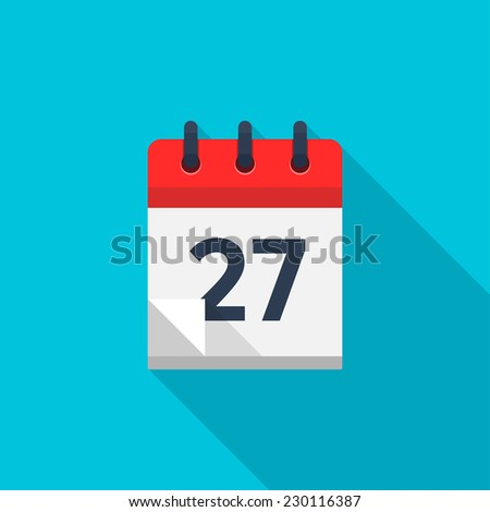 Flat calendar icon. Date and time background. Number 27 - stock photo