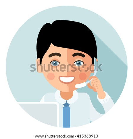 Flat call-center icon. This young man customer service operator smiling and talking on the phone. His face turned full face and looking at viewer - stock photo