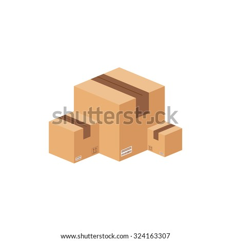 Flat carton box. Package. - stock photo