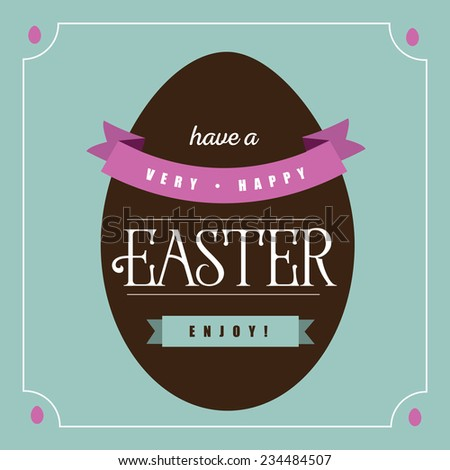 Flat chocolate Easter egg greeting card design  - stock photo