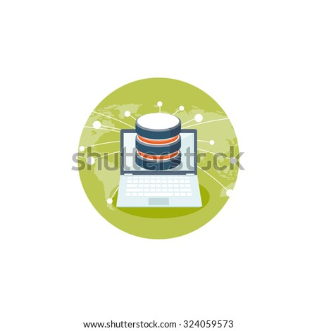 Flat cloud computing background. Data storage network technology. Multimedia content and web sites hosting. Memory and information transfer. Security and protection. Cloud service - stock photo