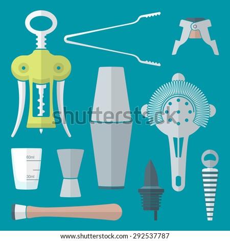 flat colored design barman equipment set tools pour spout, winged corkscrew, champagne plug, measuring glass, muddler, shaker, jigger, strainer  - stock photo