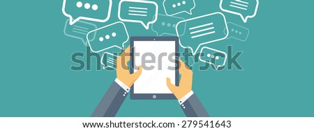 Flat communication background. Social network. Chatting. Call center. Telephone - stock photo