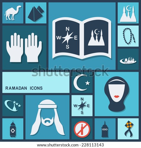 Flat concept, set modern design with shadow icons for web design and mobile applications, SEO. search Working Optimization:  Ramadan icons - stock photo
