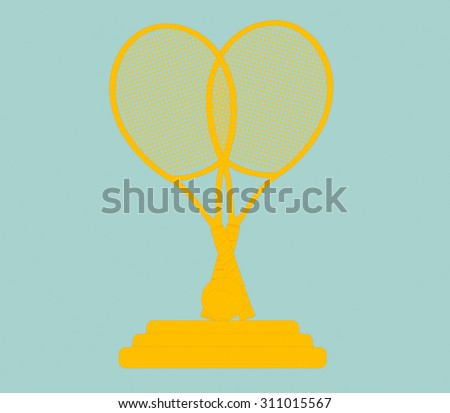 Flat Conceptual Illustration of Golden Tennis Trophy on a green background - stock photo
