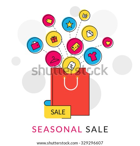 Flat contour illustration of red shopping bag with commercial icons for sale - stock photo