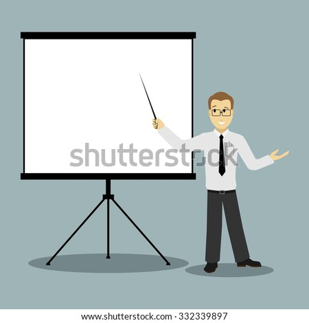 flat design businessman pointing at presentation board  - stock photo