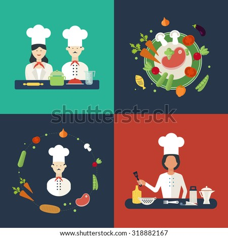 Flat design concept icons of kitchen utensils with a chefs. Cooking tools and kitchenware equipment, serve meals and food preparation elements. Icons for cooking and vegetarian food. - stock photo