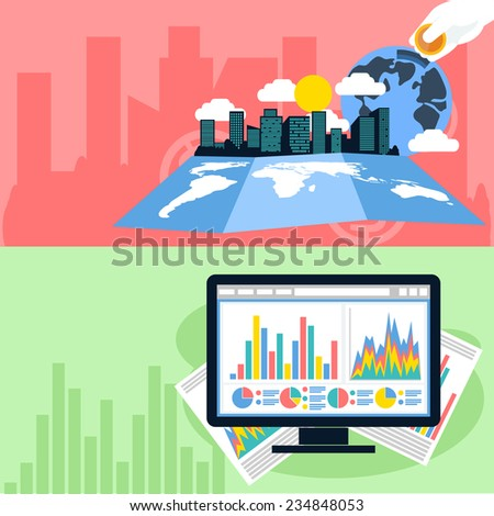 Flat design concept of business analytics, planning, strategic management and finance, investment. Raster version - stock photo