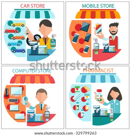 Flat design concept of car shop, mobile store, pharmacist and computer store with item icons isolated on four white banners. Dealer man and woman at the cash register. Raster version - stock photo