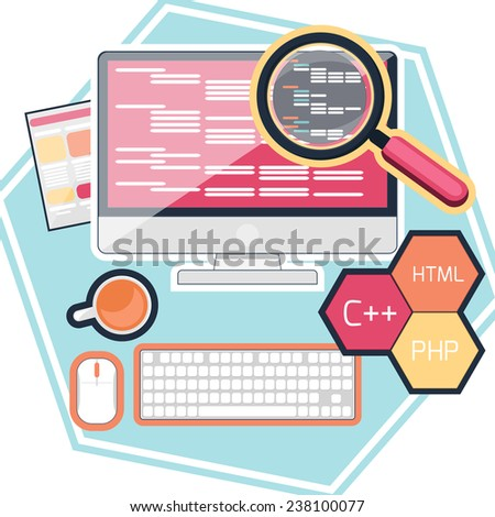 Flat design concept of program coding computer. Raster version - stock photo