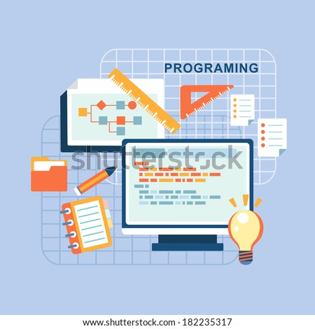 flat design concept of programmer workflow for web coding - stock photo