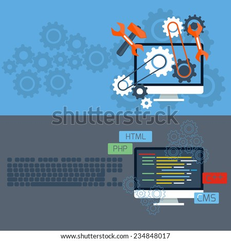 Flat design concept of programming and services with computer monitors and keyboard. Raster version - stock photo