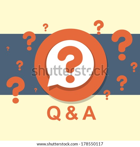 flat design concept of Q&A question and answer - stock photo
