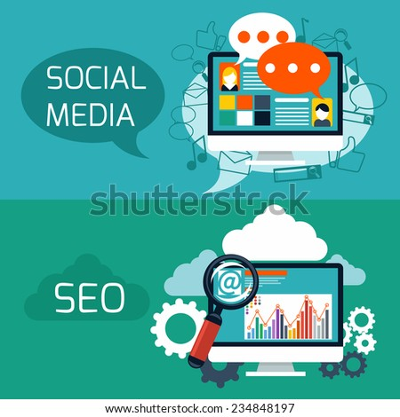 Flat design concept of search engine optimization and social media web application. Raster version - stock photo