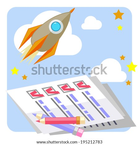 Flat design concept of successful startup with filled to do list - stock photo
