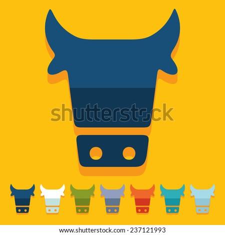 Flat design: cow - stock photo