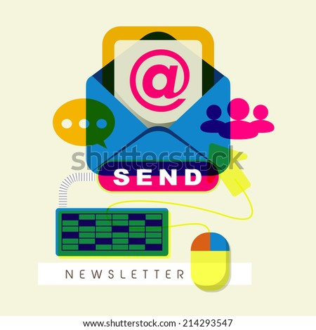 flat design for modern newsletter concept graphic  - stock photo