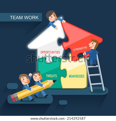 flat design for team work concept graphic - stock photo