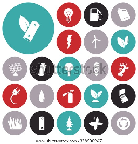 Flat design icons for energy and ecology. - stock photo