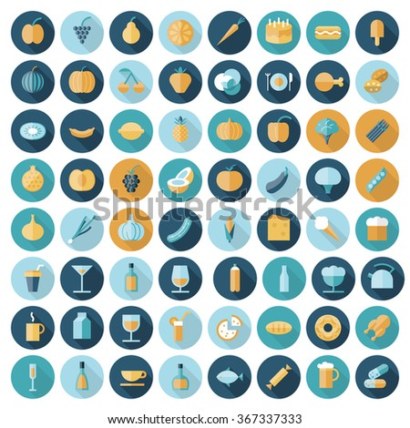 Flat design icons for food and drinks. - stock photo