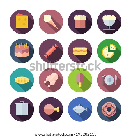 Flat Design Icons For Food. Raster version. - stock photo