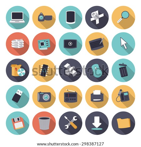 Flat design icons for technology and devices. - stock photo