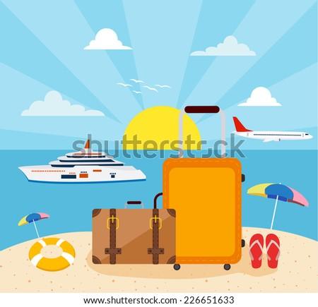 Flat design, Icons set of traveling  - stock photo