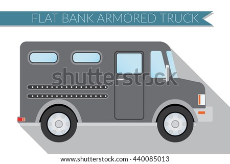 Flat design illustration city Transportation, bank armored Truck, side view . - stock photo