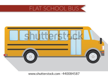 Flat design illustration city Transportation, school bus, side view . - stock photo