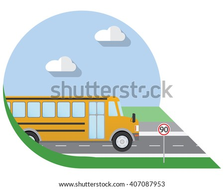 Flat design illustration city Transportation, school bus, side view icon - stock photo