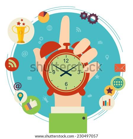 Flat design illustration concept for time management. Hand hold clock. Raster version - stock photo