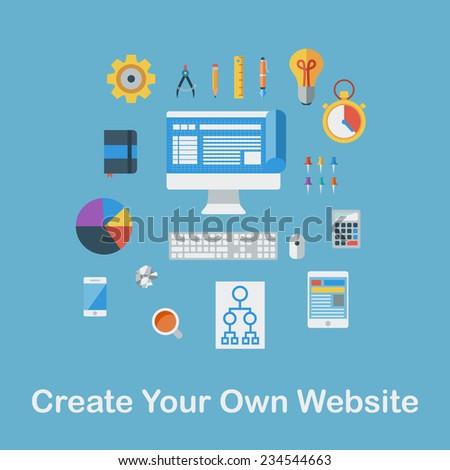Flat design  illustration concept icons set. Create Your Own Website.  illustration. - stock photo