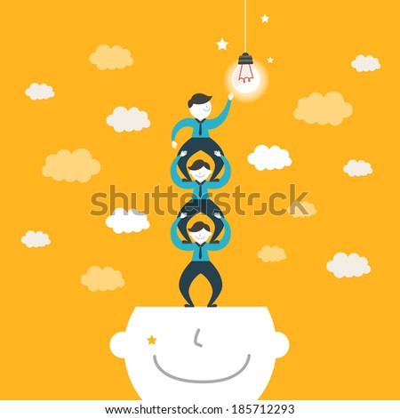 flat design illustration concept of team work - stock photo