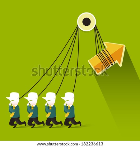 flat design illustration concept of teamwork - stock photo