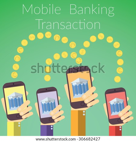 Flat design  illustration of hands holding smart phones with bank icon. Concept for online banking transaction, on color background. - stock photo