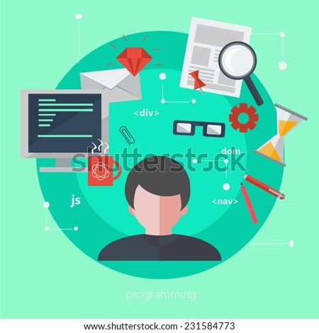 Flat design illustration of occupation person. Programmer profession. Modern style  illustration concept. - stock photo