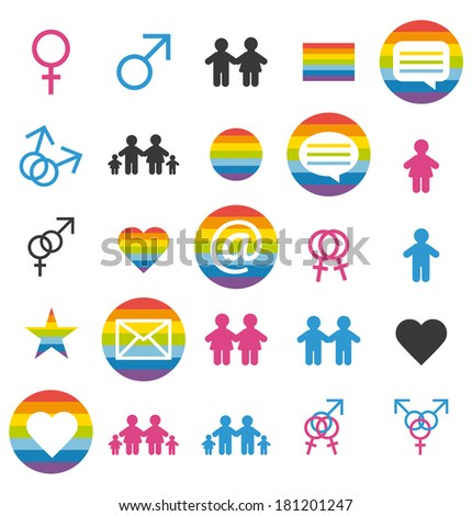 Flat design. Love, family and gays icons and pictograms set. - stock photo