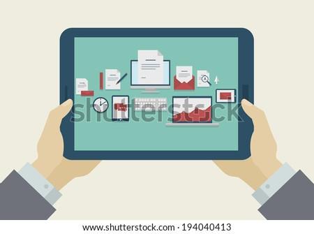 Flat Design Mobile, tablet, icons on display, raster version - stock photo