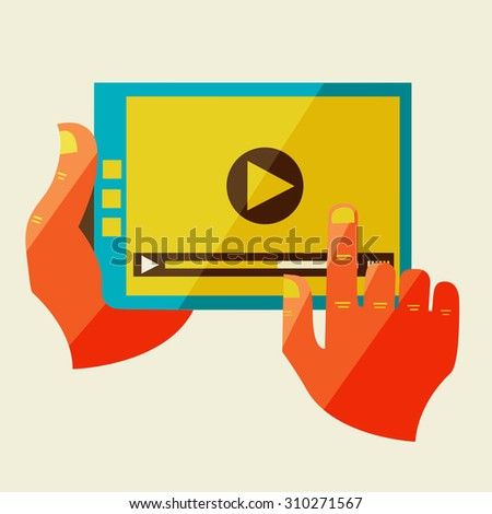 Flat design modern  illustration in stylish colors of hand touch screen, mobile phone, Creative concept with with video player  on digital tablet - stock photo